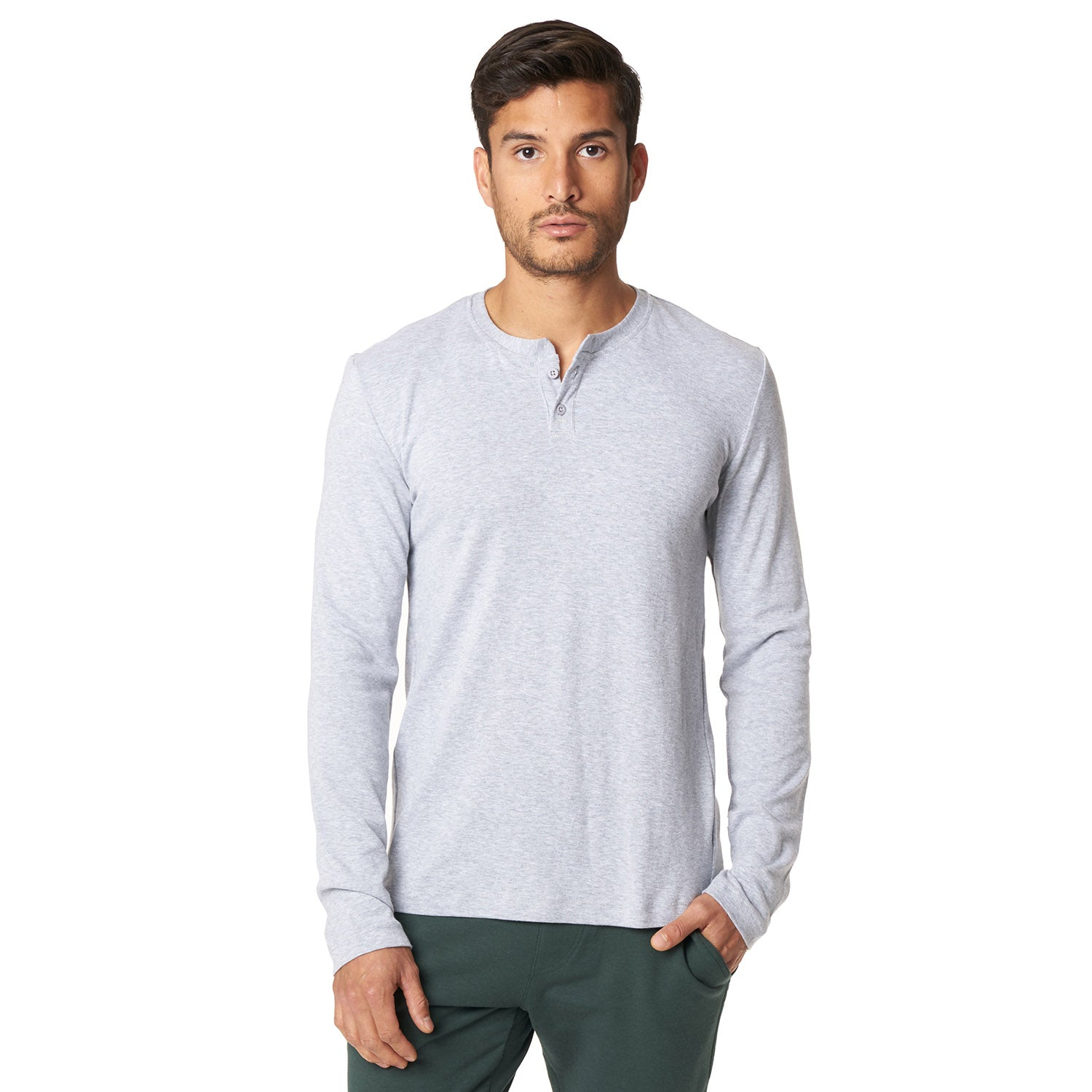 Long Sleeve Henley in Lt. Grey - Mitchell Evan