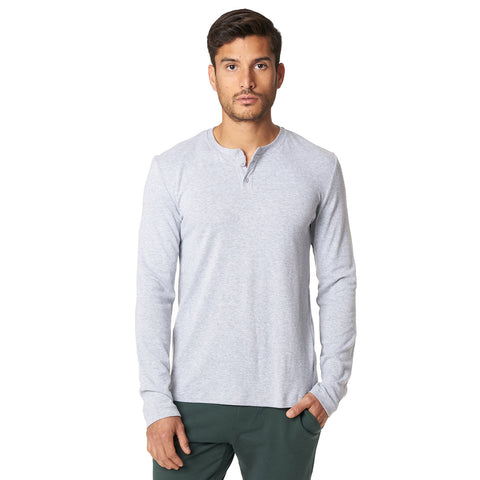 LONG SLEEVE HENLEY | LT. GREY - Mitchell Evan