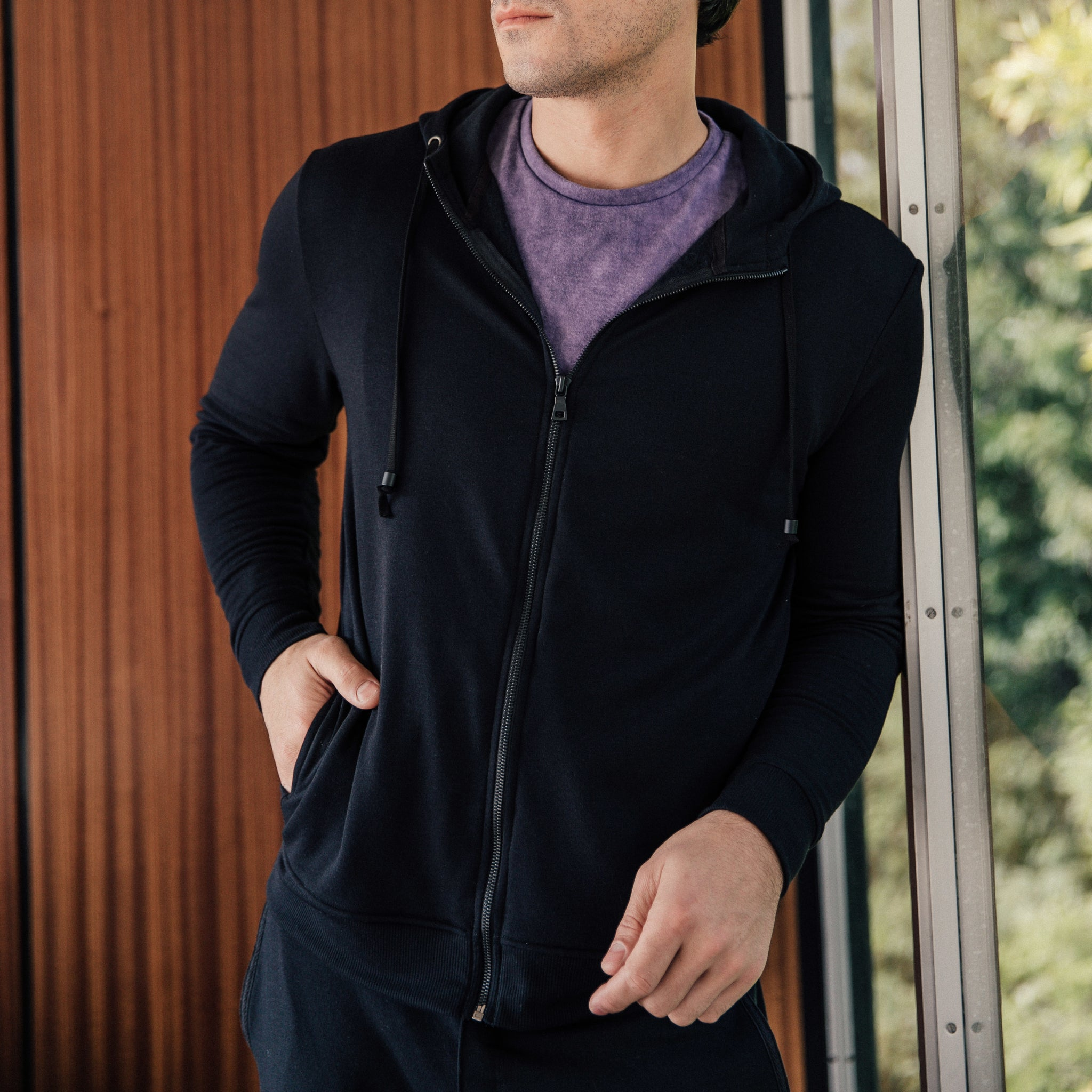 Mercer Zip Up Hoodie in Black - Mitchell Evan