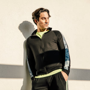 Max Track Jacket in Black-Lime Aurora
