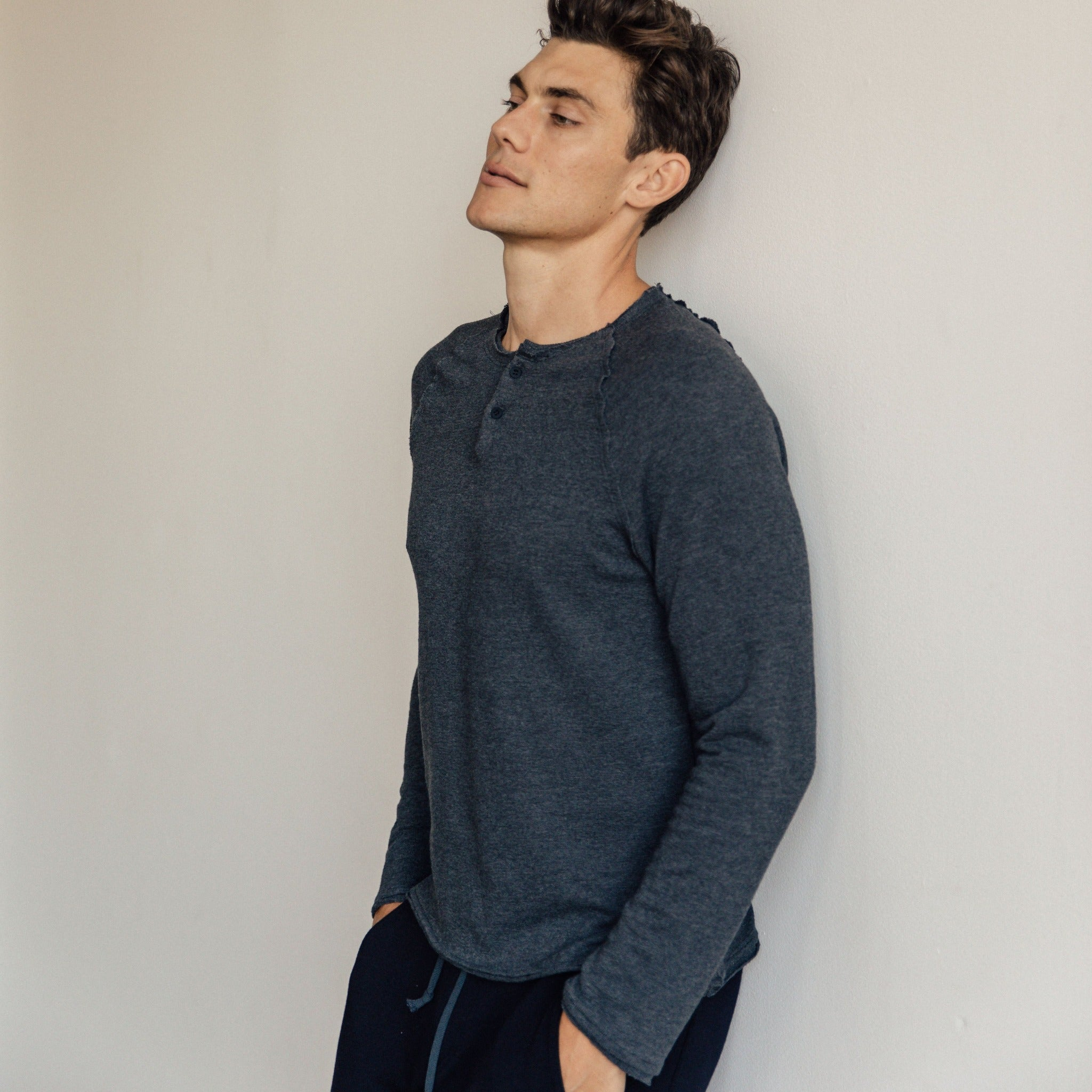 Jacquard Henley in Charcoal - Mitchell Evan
