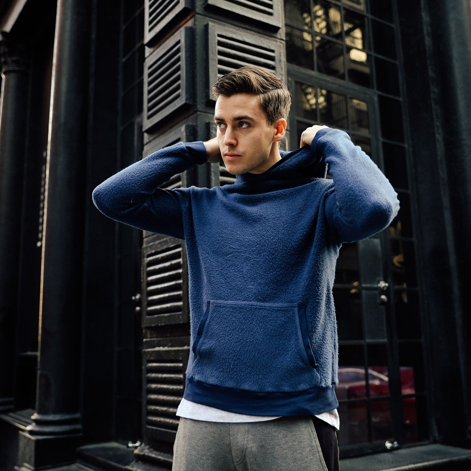 Sherpa Drop Shoulder Hoodie in Blue - Mitchell Evan