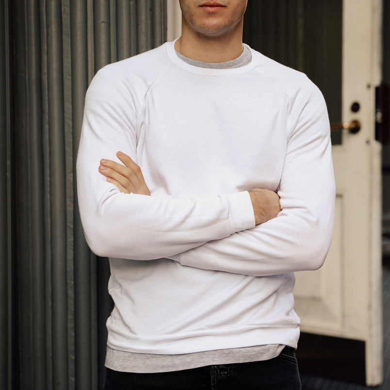 Raglan Crewneck Sweatshirt in Optic White - Mitchell Evan