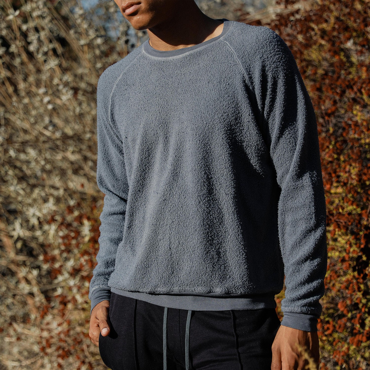 Sherpa Crewneck Sweatshirt in Slate - Mitchell Evan