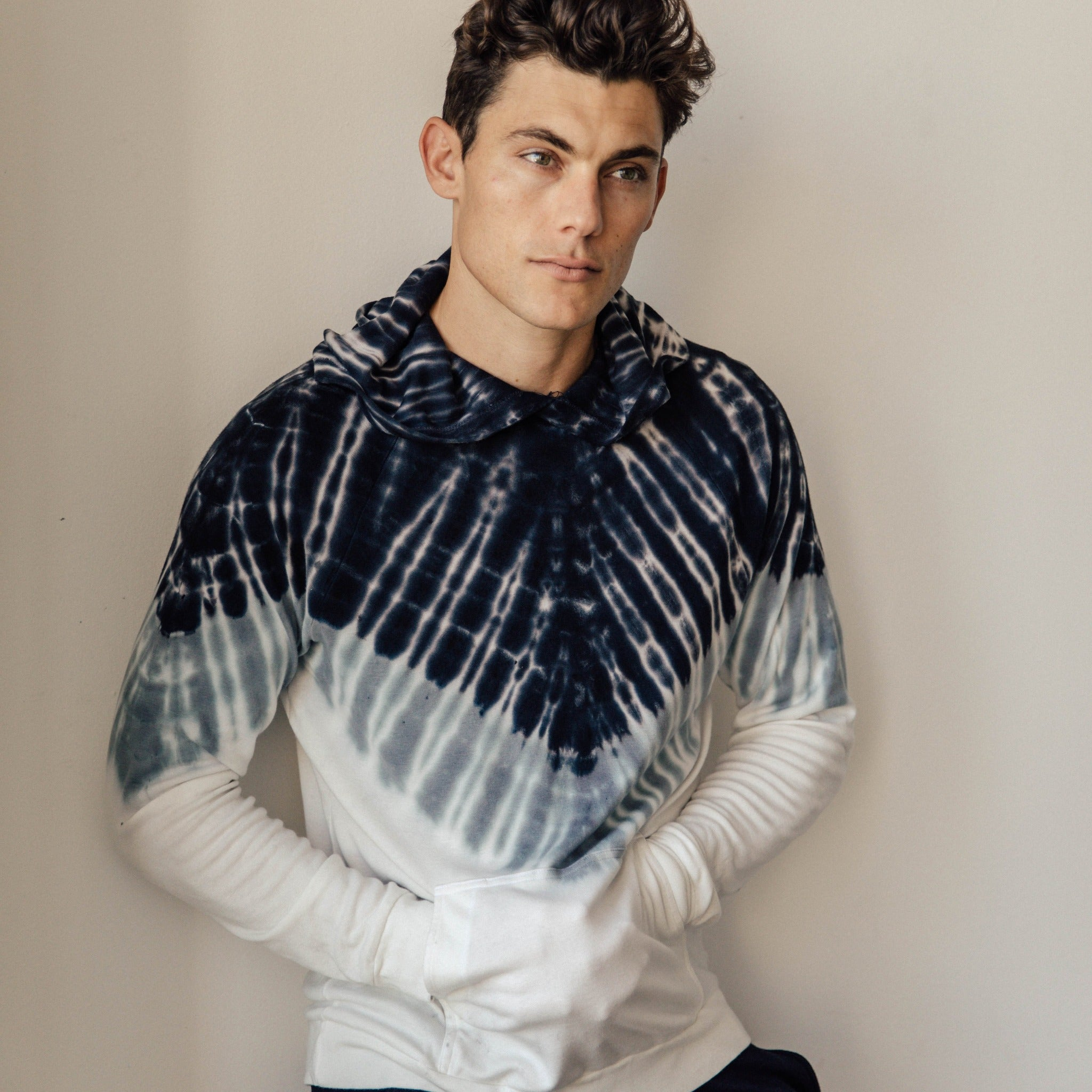 Bamboo Pull Over Hoodie in Black Dye - Mitchell Evan