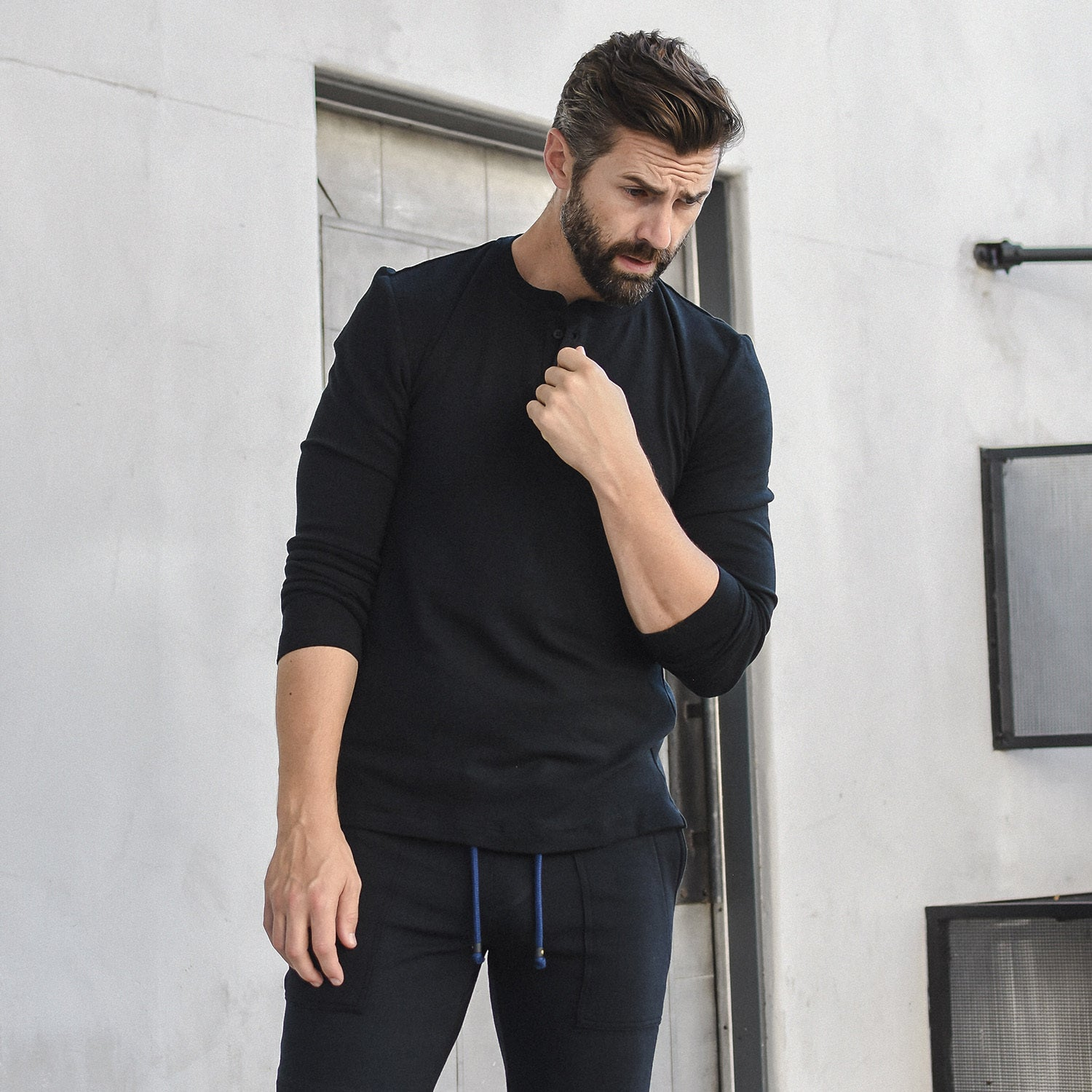 Long Sleeve Henley in Bamboo Black - Mitchell Evan