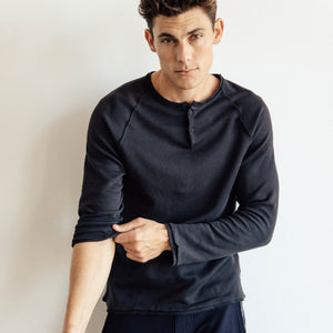 Flatback Thermal Henley in Black - Mitchell Evan