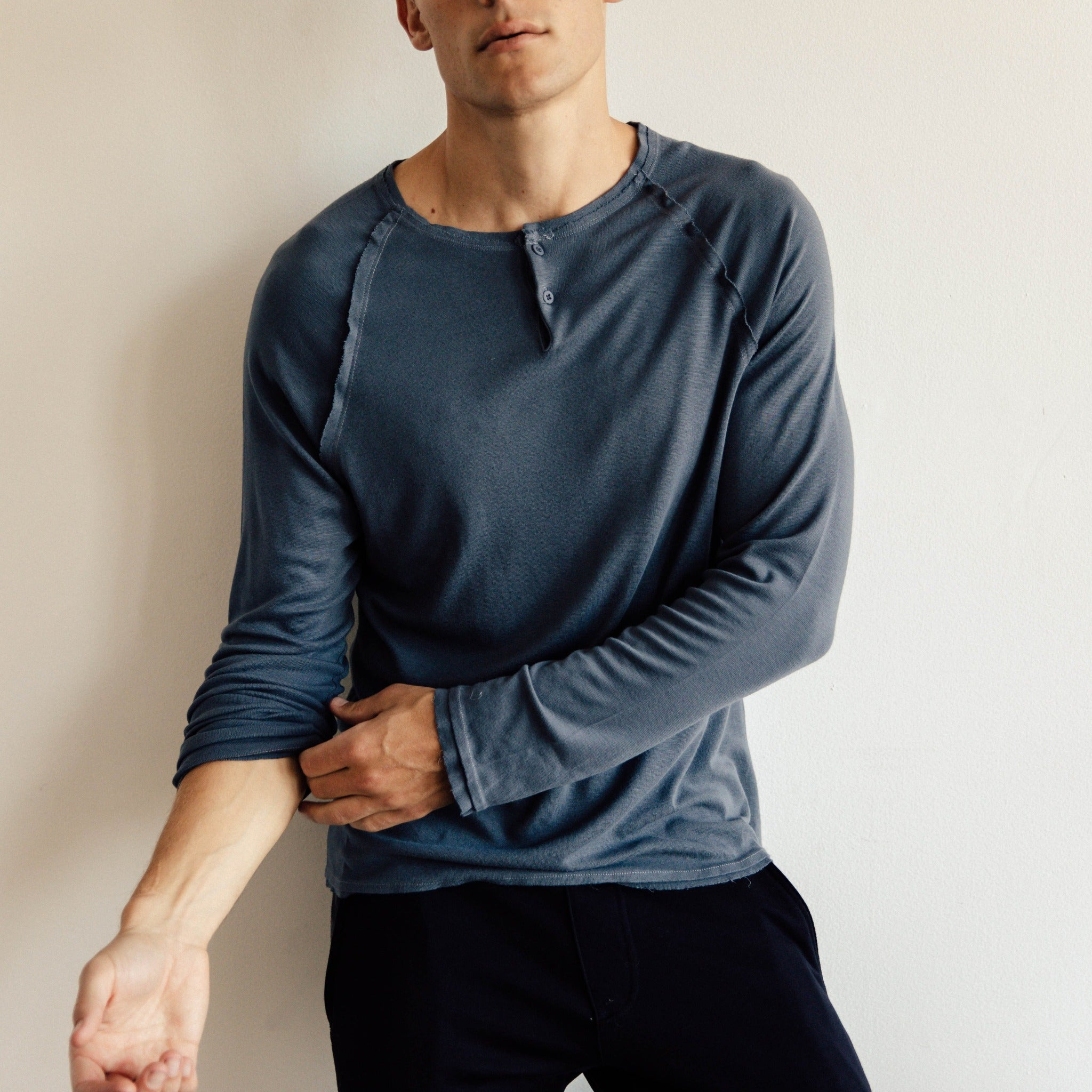 Bamboo Henley in Slate - Mitchell Evan