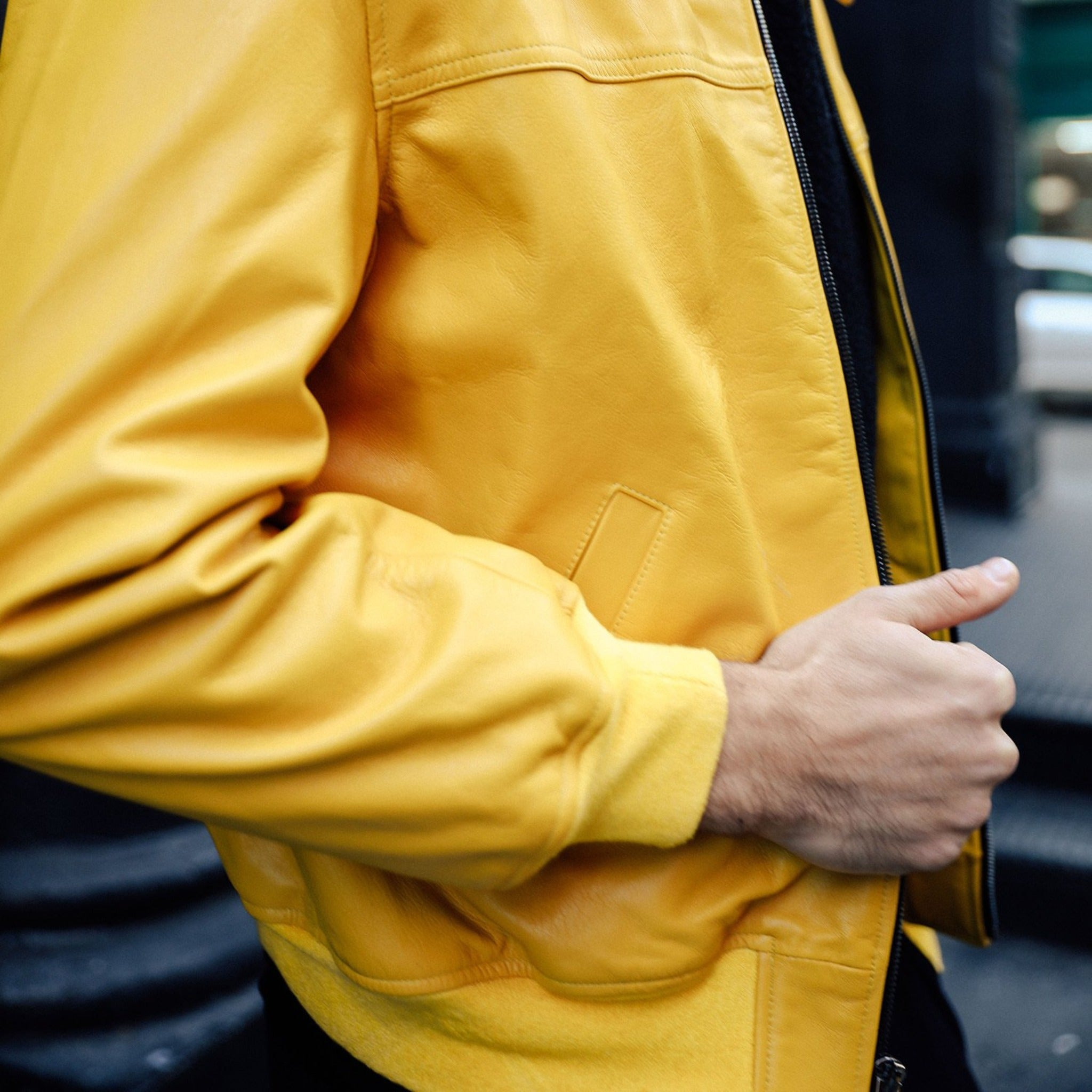 Bomber Jacket in Yellow - Mitchell Evan