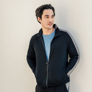 Max Track Jacket in Black-Charcoal - Mitchell Evan