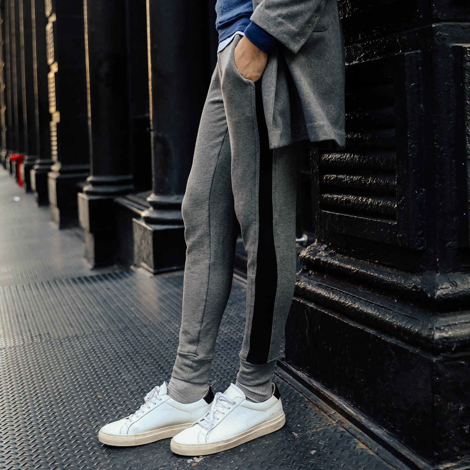 Panel Joggers in Grey-Black