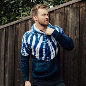 Sherpa Drop Shoulder Hoodie in Blue Dye - Mitchell Evan