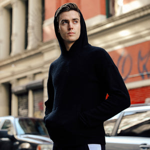 Sherpa Drop Shoulder Hoodie in Black - Mitchell Evan