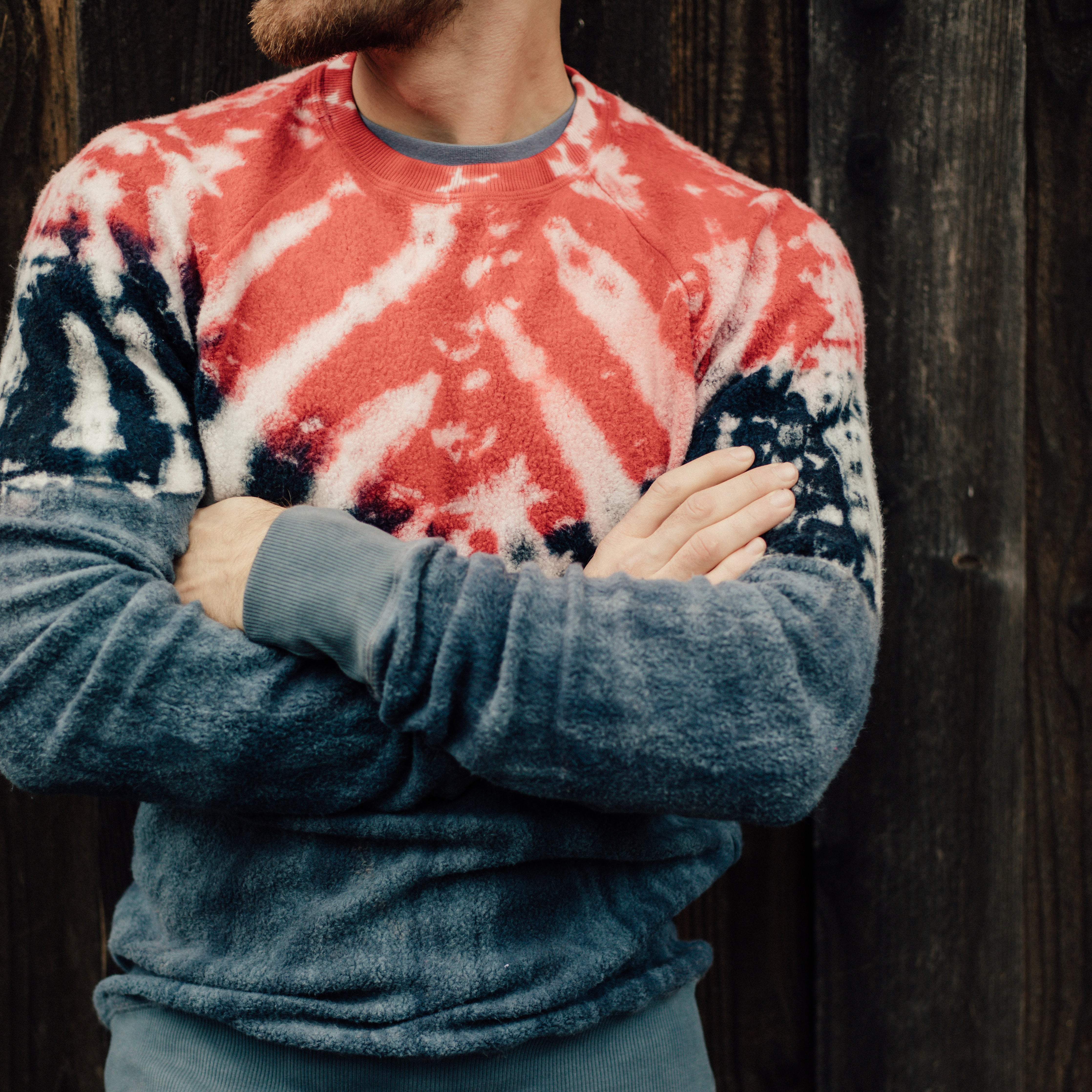 Sherpa Crewneck Sweatshirt in Red Dye - Mitchell Evan