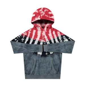 Sherpa Drop Shoulder Hoodie in Red Dye - Mitchell Evan