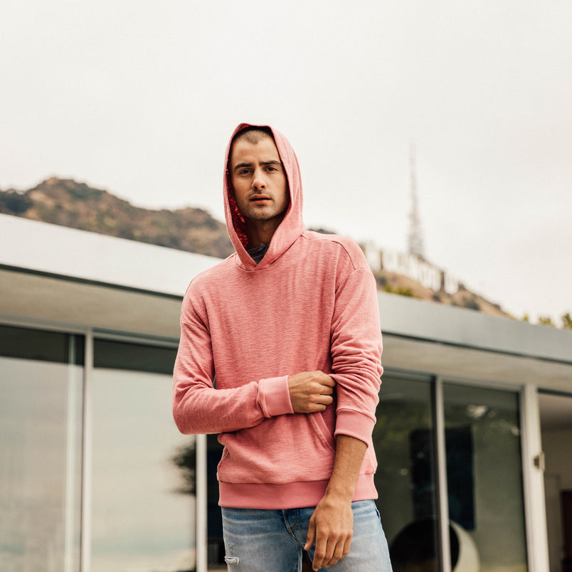 Baja Drop Shoulder Hoodie in Pink Rose