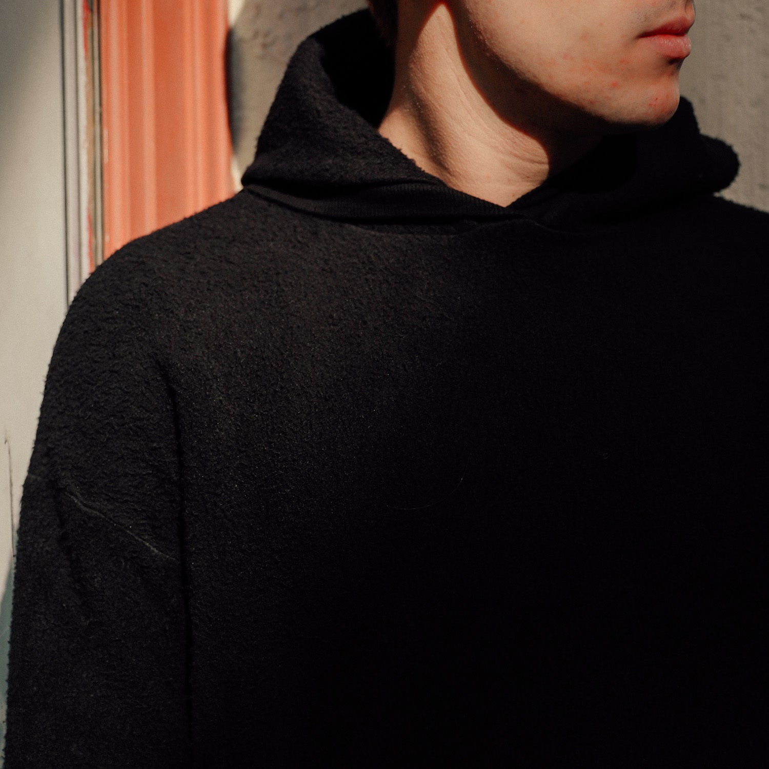 Sherpa Drop Shoulder Hoodie in Black