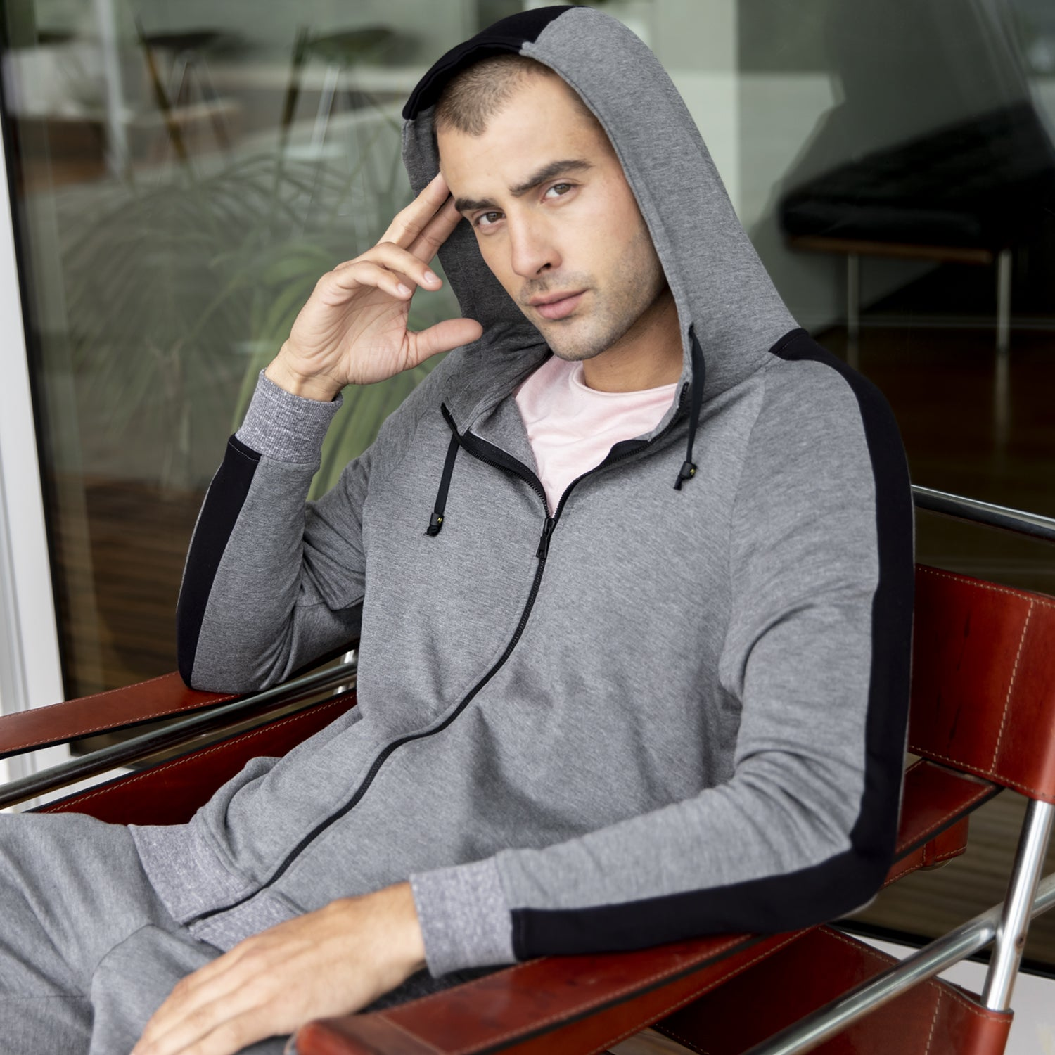 Sandy Zip Up Hoodie in Grey-Black - Mitchell Evan