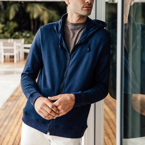 Mercer Zip Up Hoodie in Navy - Mitchell Evan