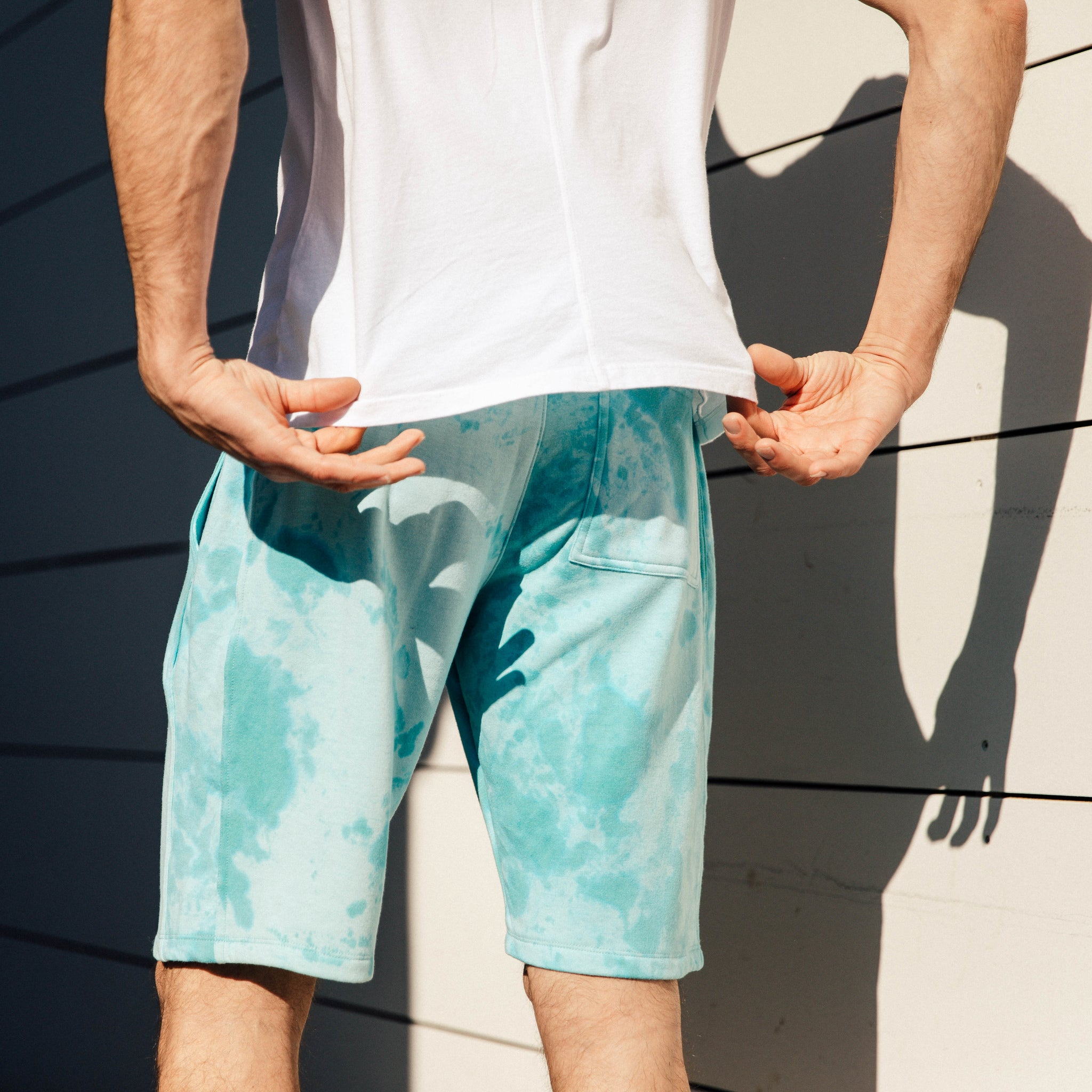 Pacific Knit Shorts in Aqua Lava - Mitchell Evan