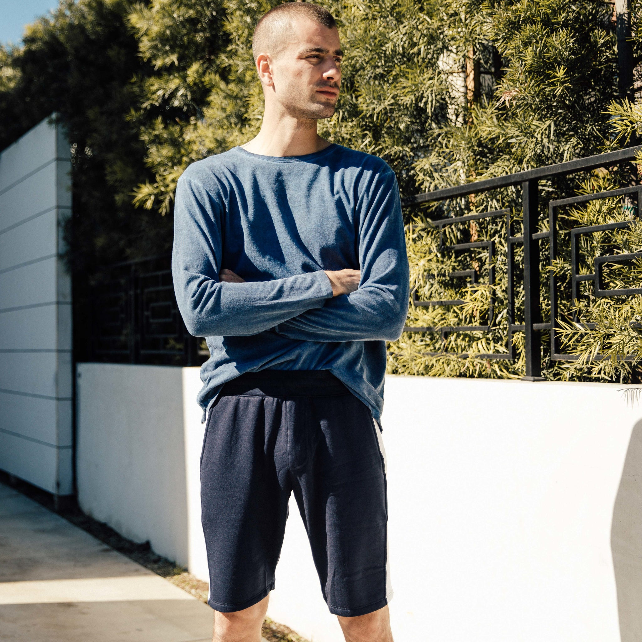Pacific Knit Shorts in Navy-White - Mitchell Evan