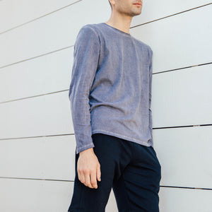 Pebble Long Sleeve Tee in Charcoal - Mitchell Evan