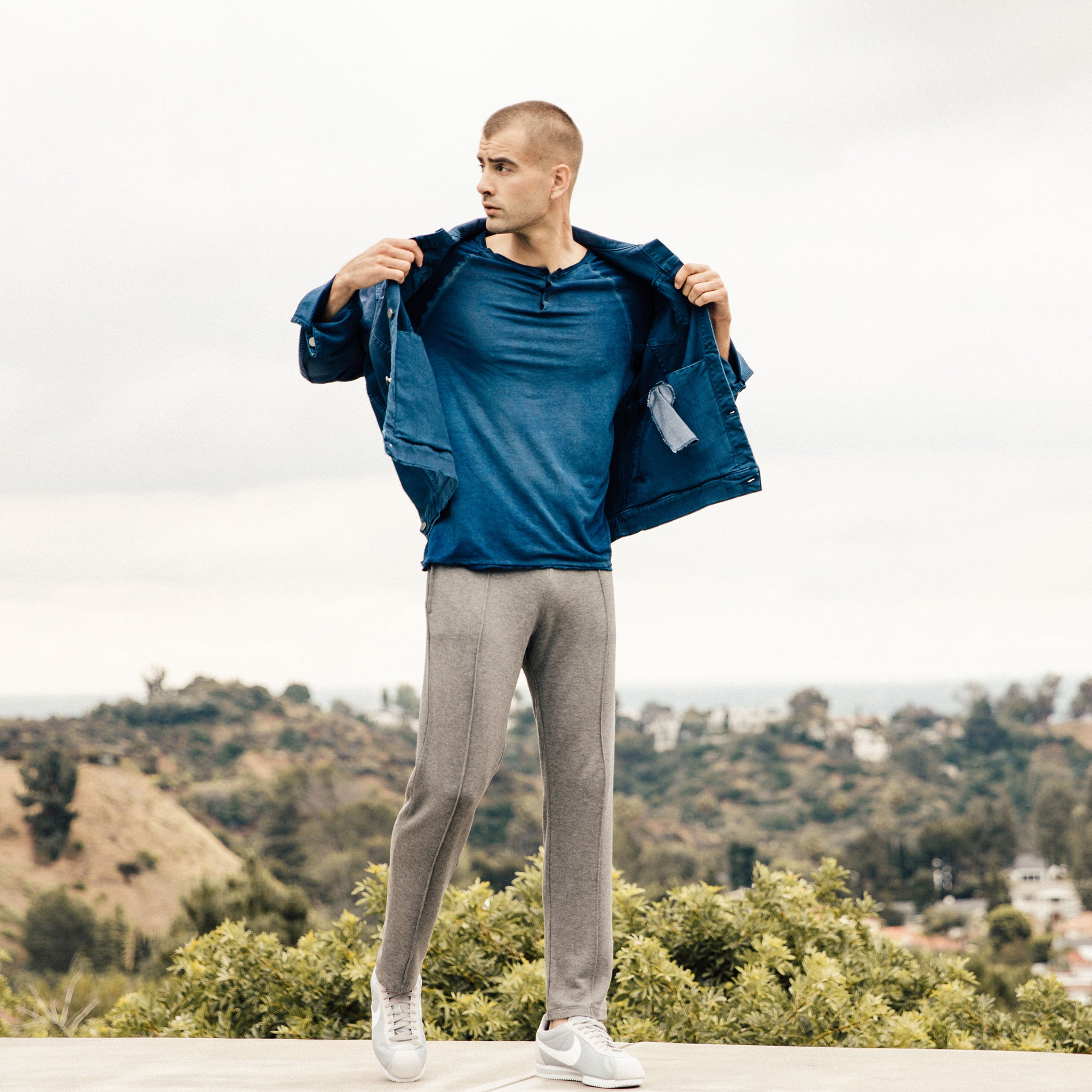 Portland Pintuck Sweatpants in Grey - Mitchell Evan