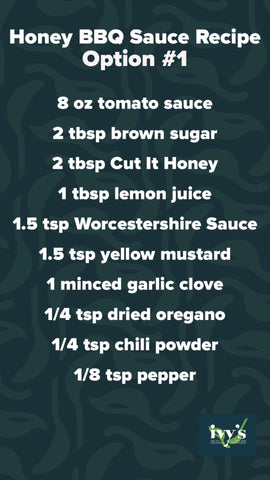 Honey BBQ Sauce graphic with recipe for homemade BBQ sauce.