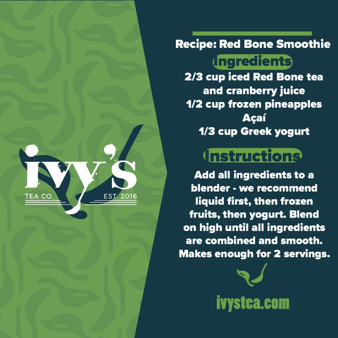 Graphic of the Ivy's Tea Co. recipe for a Red Bone smoothie.