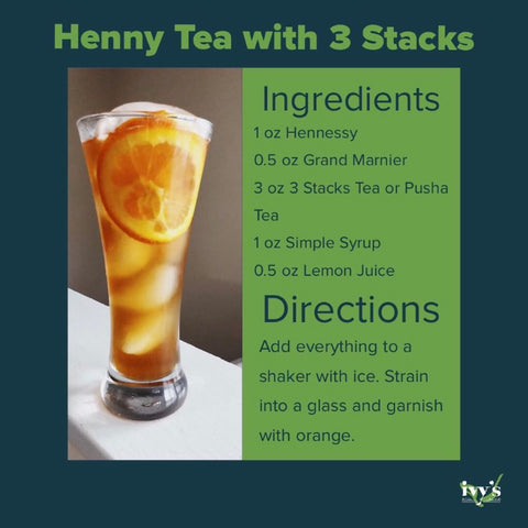 Graphic featuring a cognac cocktail recipe with Ivy's Tea Co. 3 Stacks tea.
