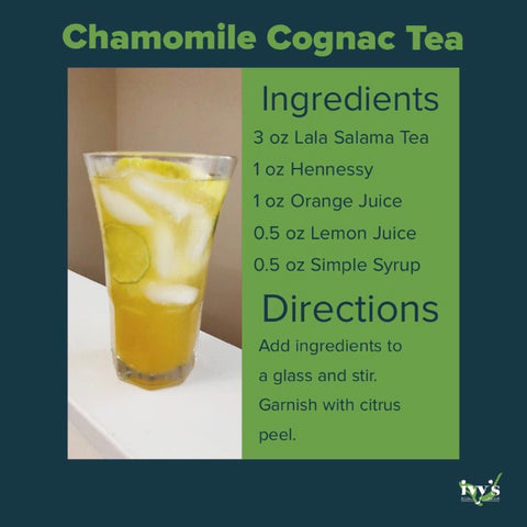 Graphic featuring a cognac cocktail recipe with Ivy's Tea Co. Lala Salama tea.