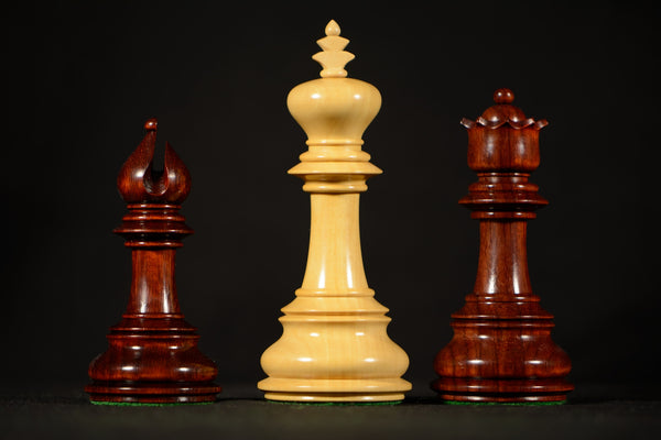 Artistic Staunton Style Chessmen In Padauk Wood