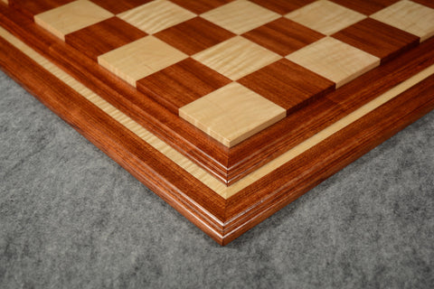 "Bubinga and Curly Maple Tradition II Chessboard #BBCM03092017-NM-01 - 2 1/2"" (MADE IN USA)"