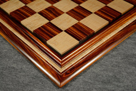 "Cocobolo and Curly Maple Chessboard #CC032016-01 - 2 1/2"" (MADE IN USA) - SPECIAL OFFER"