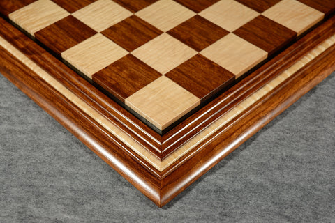 "Bubinga and Curly Maple Chessboard #BC032016-02 - 2 1/2"" (MADE IN USA) - SPECIAL OFFER"