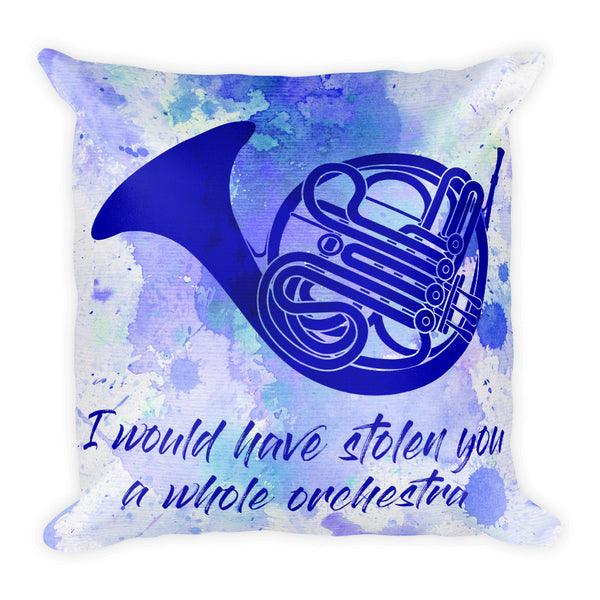 Blue French Horn Pillow