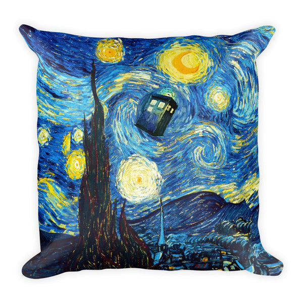 Doctor Who Starry Night Square Pillow