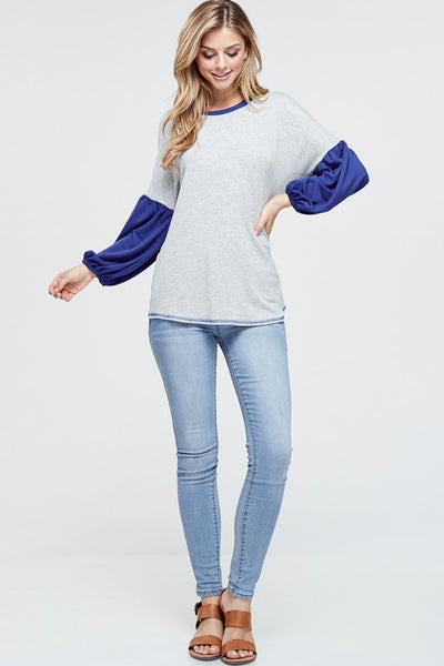 {LAST CHANCE} Royal Blue Contrast Top ~ Royal Blue