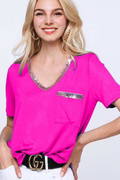 {Last Chance}  Daisy V Neck Top with Sequins ~ Fuchsia