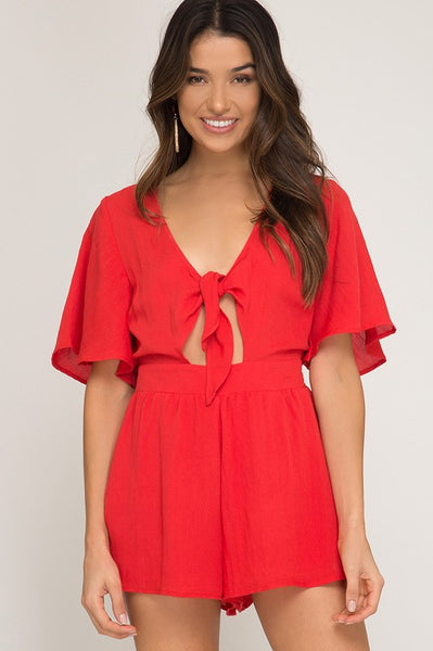 {Last Chance} Marla Flutter Sleeve Romper ~ Red