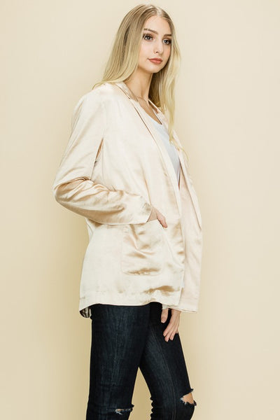 {Last Chance} Oh My Satin Tailored Pocket Blazer ~ Taupe