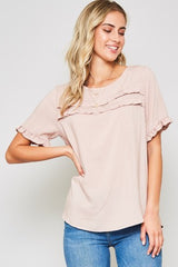 *NEW* Double The Ruffle Short Sleeve Top ~ Mauve