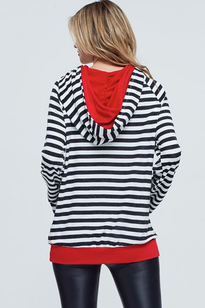 {LAST CHANCE} I See Red Striped Hoodie ~ Black & Red