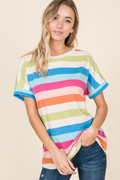 {Last Chance} Be Casual Multi Color Stripe Top ~ Colorful Stripe