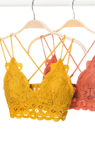 *NEW* I'm So Pretty Crochet Lace Bralette ~ Brick, Burgundy, & Mustard