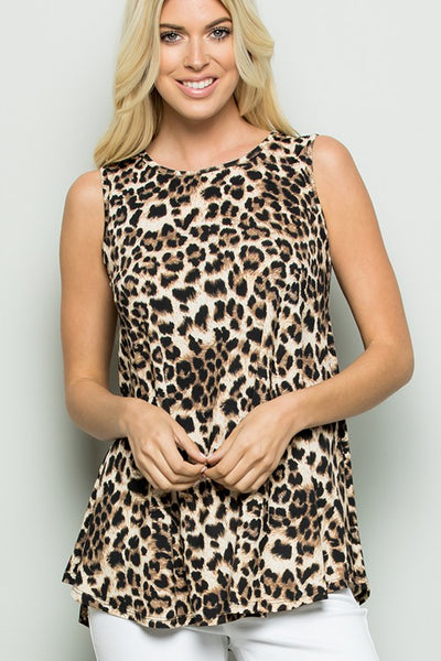 *NEW* Lovey Sleeveless Leopard Print Tunic Top