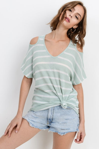 Lizzie Open Sleeve Round Neck Top ~ Sage