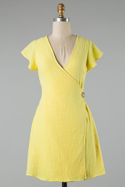 {Last Chance} Wrapped In Hope Wrap Dress ~ Yellow *FINAL SALE* - Be You Boutique