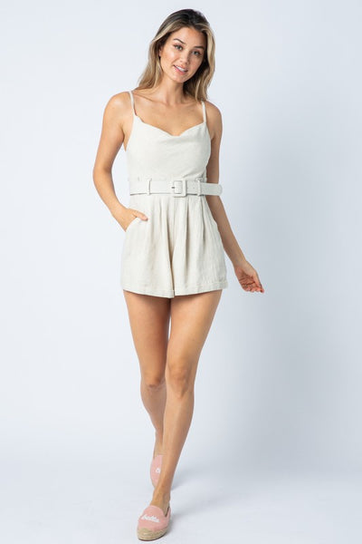 {Last Chance} Kennedy Could Neck Romper ~ Oatmeal *FINAL SALE* - Be You Boutique