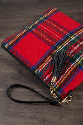 {Last Chance} Silia Tartan with Tassel and Detachable Strap ~ Red *FINAL SALE* - Be You Boutique